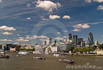 London Skyline behind the Thames