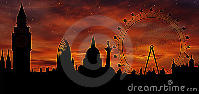 London skyline at dusk Editorial Photography