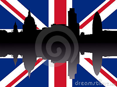 London skyline with flag