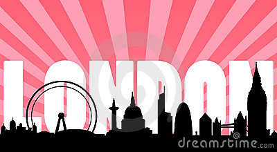 London skyline landmarks and text