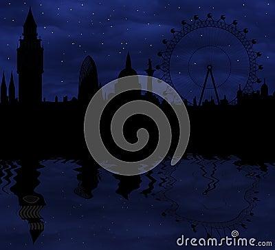 London skyline at night Editorial Image