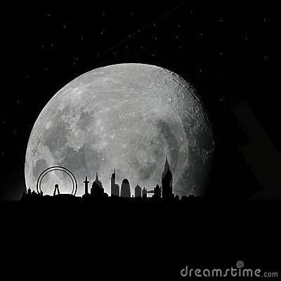 London skyline by night with moon