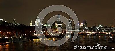 London skyline night scene