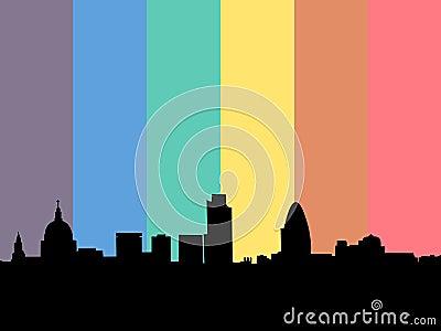 London Skyline with rainbow flag