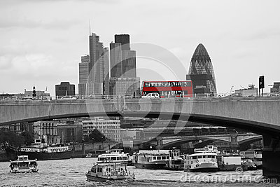London skyline seen from Victoria Embankment