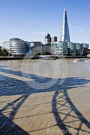 London Skyline with the Shard and Tower Bridge shadow
