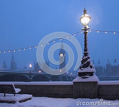Free London Skyline Snow Scene Stock Photography - 8023172