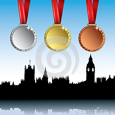 London skyline with sport