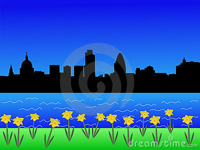 LONDON SKYLINE IN SPRINGTIME (click image to zoom)