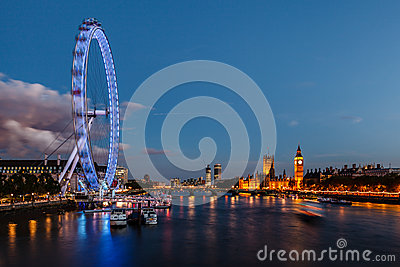 London Skyline with Westminster Bridge and Big Ben Editorial Stock Image