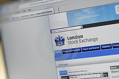 London Stock Exchange main internet page Editorial Photography