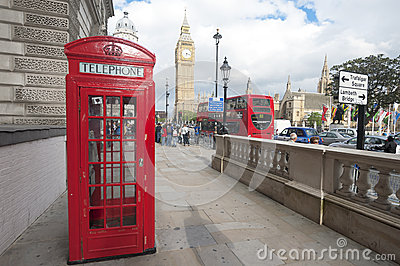 London street, Phone boot and Big Ben Editorial Image
