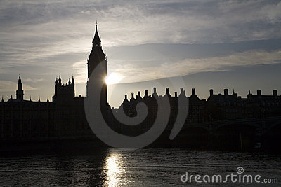 London - sunset over Big ben