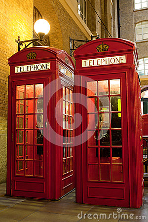 Free London Symbol Red Phone Box At Illuminated Street Stock Image - 26120641