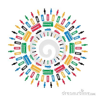 London symbols in Olympics colors