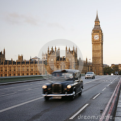 London Taxi on Westminster Bridge Editorial Photography
