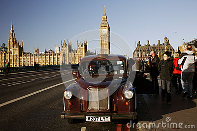 London Taxi on Westminster Bridge Editorial Image