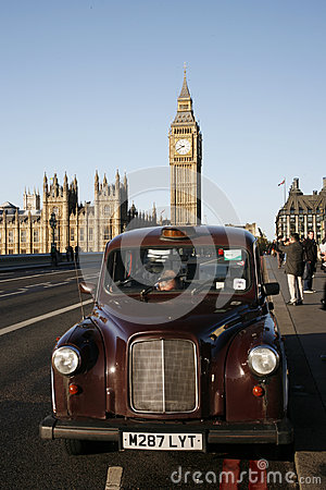 London Taxi on Westminster Bridge Editorial Photo