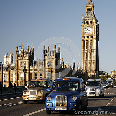 London Taxi on Westminster Bridge Editorial Stock Image