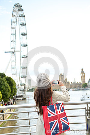 London Tourist taking picture of river Thames