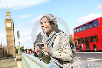 London tourist woman sightseeing taking pictures