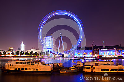 London  Trafalgar square at nighttime Editorial Image