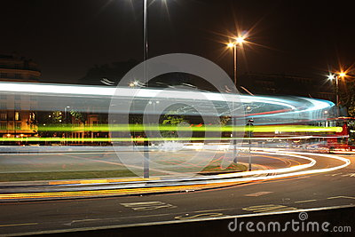 London Traffic Light Streak Editorial Stock Image