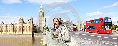 London travel banner - woman and Big Ben