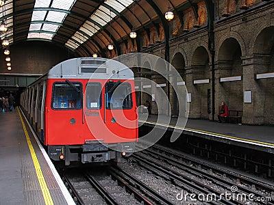 London Tube Train in Vintage Underground Station
