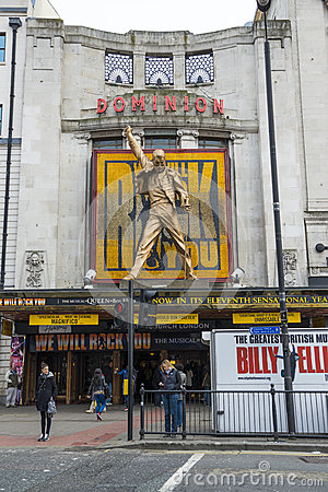 LONDON, UK - APRIL 07: Entrance to We Will Rock You musical in T Editorial Photo