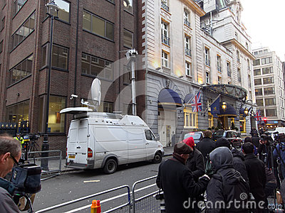 The media outside the Ritz where Margaret Thatcher has died Editorial Image