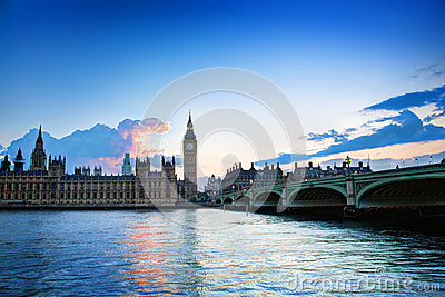 London, the UK. Big Ben, the Palace of Westminster at sunset
