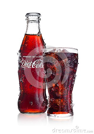 Free LONDON, UK - FEBRUARY 02, 2018: Cold Bottle And Glass Of Diet Coca Cola Drink With Ice And Dew On White. The Drink Is Produced And Royalty Free Stock Photography - 109045347