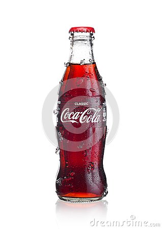 Free LONDON, UK - JANUARY 02, 2018: Cold Glass Bottle Of Coca Cola Drink  With Ice And Dew On White. The Drink Is Produced And Manufact Royalty Free Stock Photography - 107073097