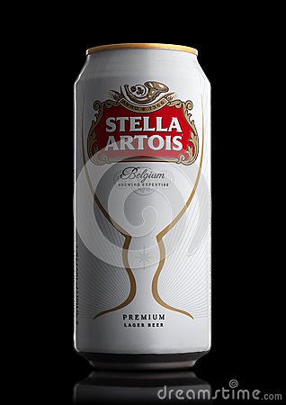 Free LONDON, UK - MAY 29, 2017: Alluminium Can Of Stella Artois Beer On Black. Stella Artois Has Been Brewed Since 1926 In Belgium. Stock Photography - 93425932