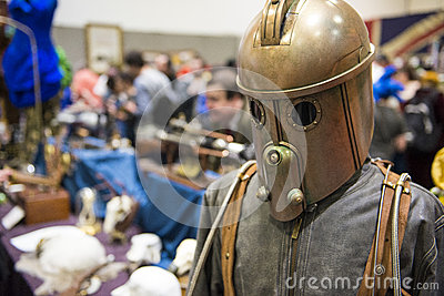 LONDON, UK - OCTOBER 26: Steampunk rocketeer outfit in the Comic