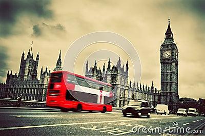 London, the UK. Red bus, Big Ben