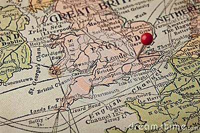 London-und England-Weinlesekarte