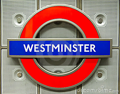 London underground logo at westminster station Editorial Image