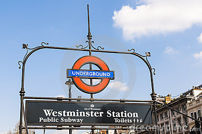 London Underground sign at Westminster station Editorial Photography