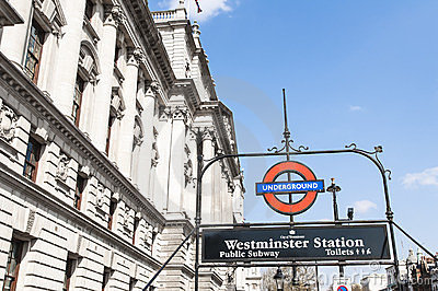London Underground sign at Westminster station Editorial Stock Image