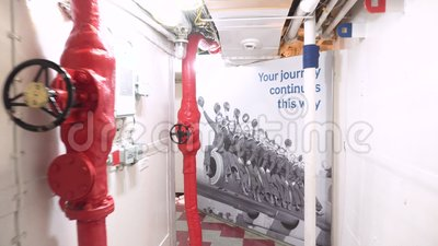 London, United Kingdom - May 13, 2019: HMS Belfast warship museum interior, saw action during the second world war, is. Now permanently moored as a museum ship stock footage