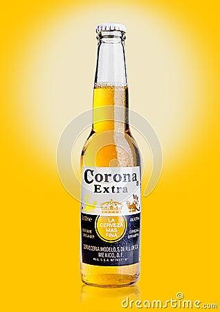 Free LONDON, UNITED KINGDOM - October 23, 2016: Bottle Of Corona Extra Beer On Yellow Background. Corona, Produced By Grupo Modelo With Royalty Free Stock Photos - 79430388