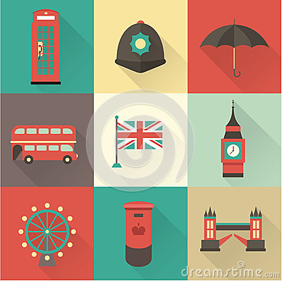 Free London Vintage Icons Royalty Free Stock Images - 34715419