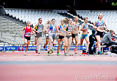 London: women running at the olympic stadium Editorial Image
