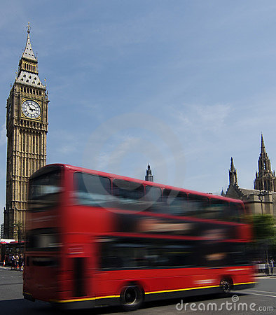 Londons Big Ben and red bus