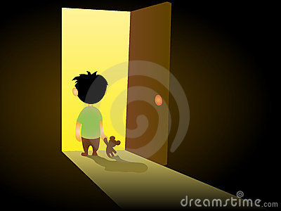 Lone child stands at the door