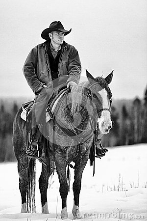Free Lone Cowboy In Horse Stock Photos - 36766723
