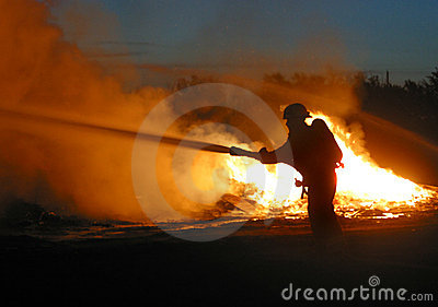 Lone firefighter Stock Photo