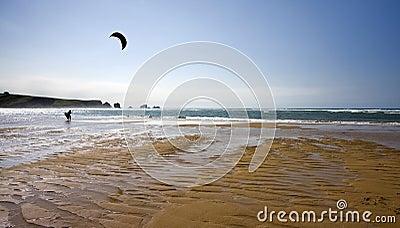 Lone kitesurfing